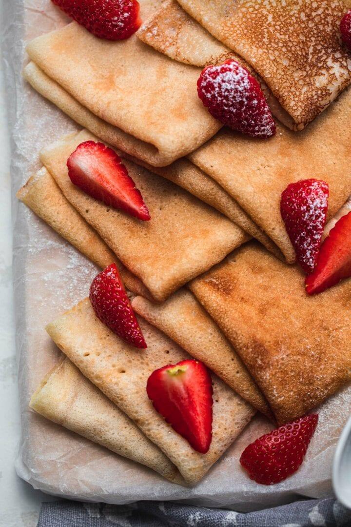 Plate of sweet vegan crepes