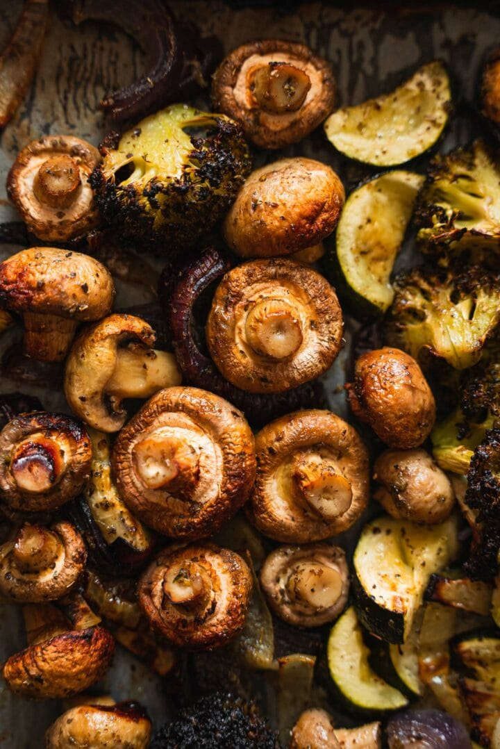Roasted zucchini, mushrooms and onions