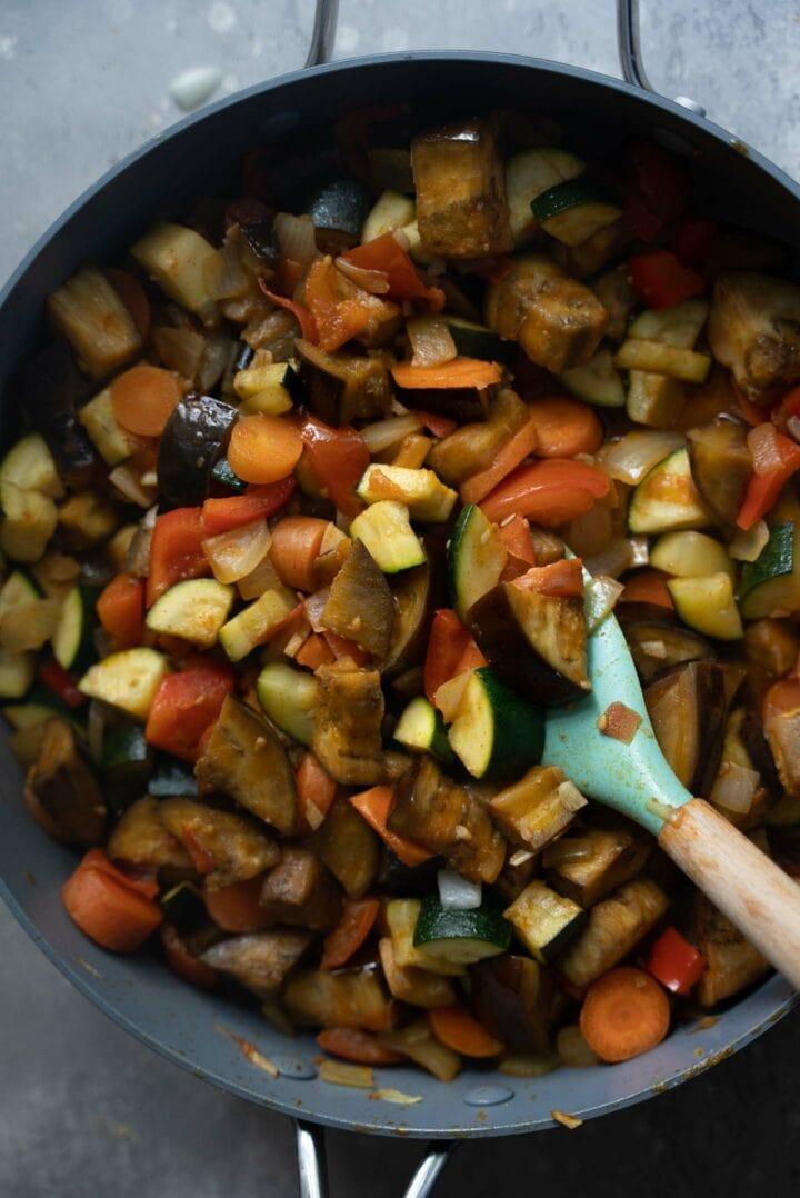 Sautéd vegetables in a frying pan