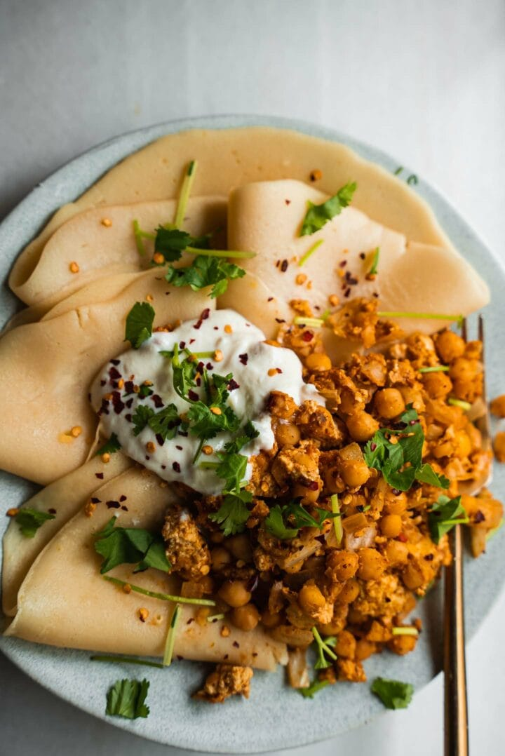 Savory crepe with chickpea scramble