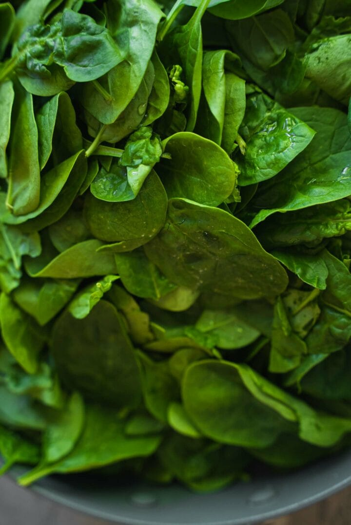 Spinach in a frying pan
