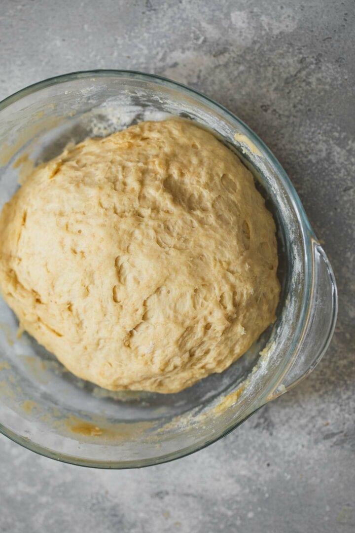 Vegan dough in a large bowl