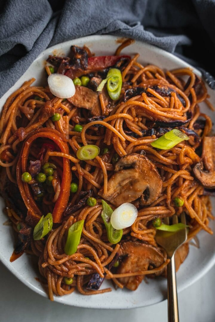 Bowl of spaghetti with vegetables and spring onion