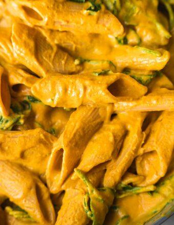 Cheesy vegan pasta in a frying pan