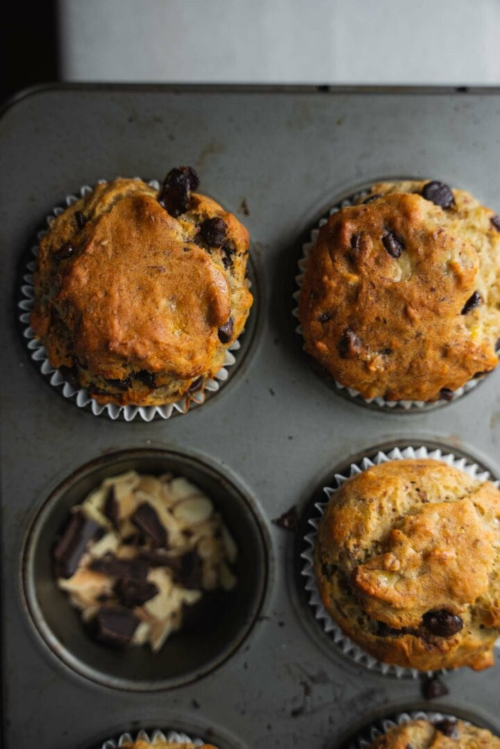 Closeup of muffins in a muffin tray