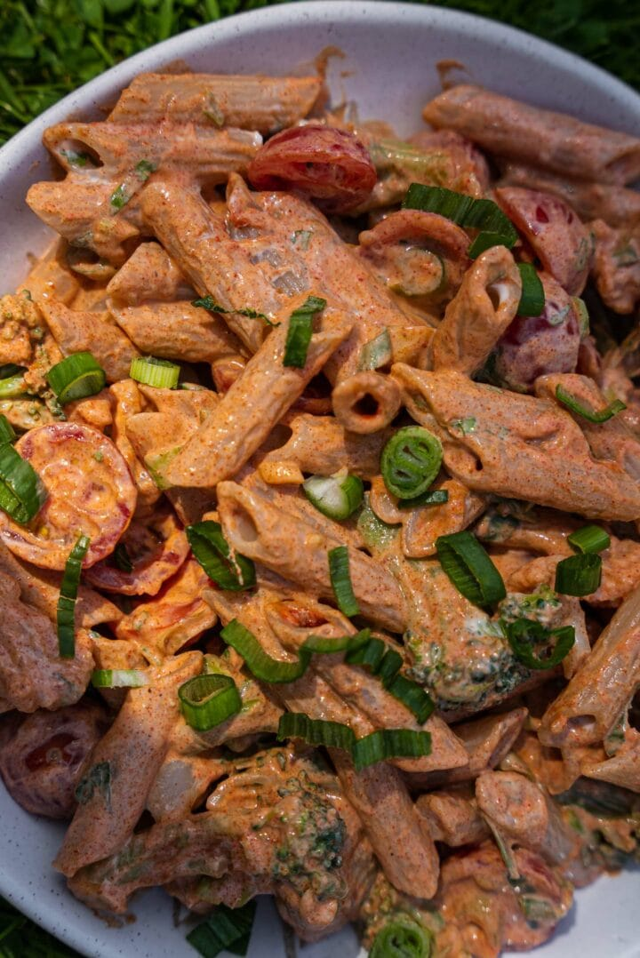 Closeup of penne in a bowl