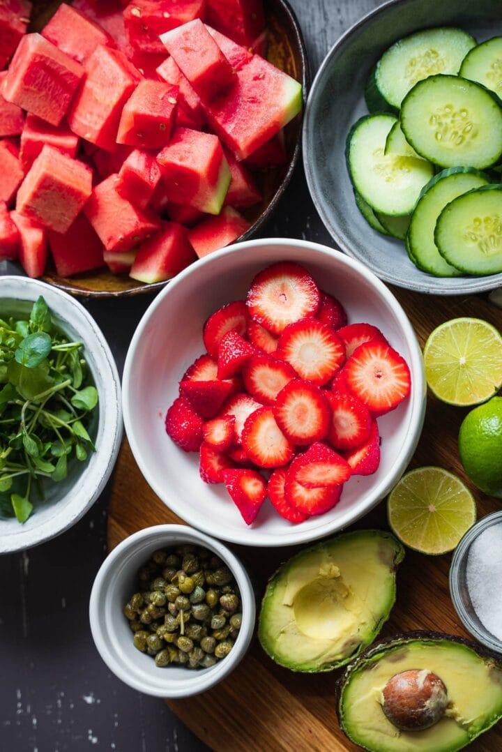 Ingredients for vegan watermelon salad