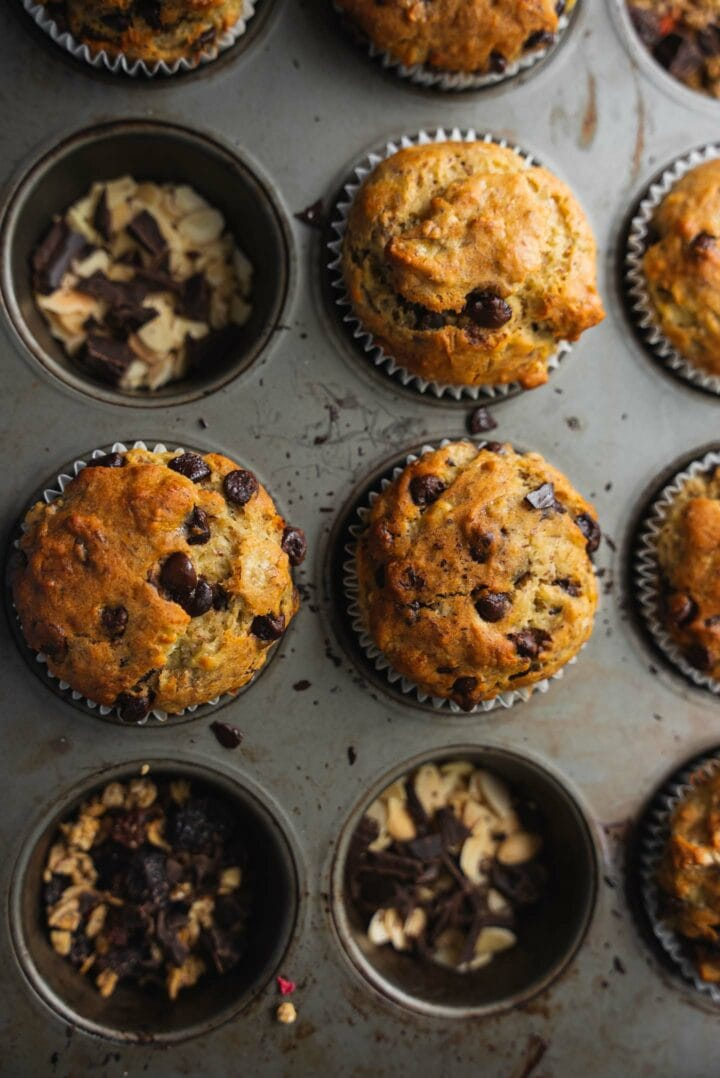 Muffin tray with chocolate chip muffins