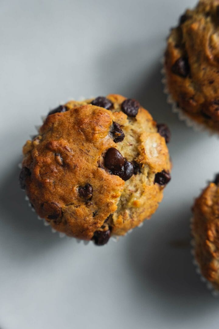 Muffin with dairy-free chocolate chips on a plate