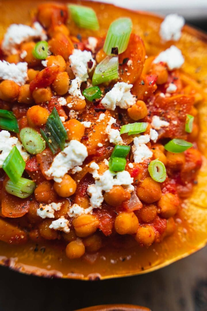 Squash boats with chickpea bolognese