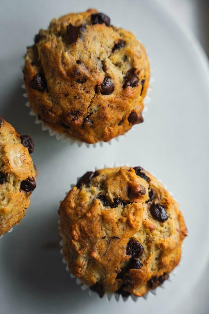 Vegan banana muffins with chocolate chips 2