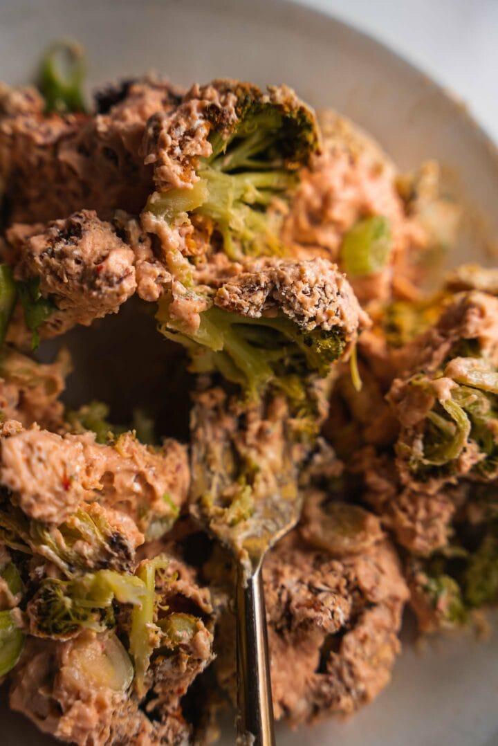 Vegan broccoli wings on a plate