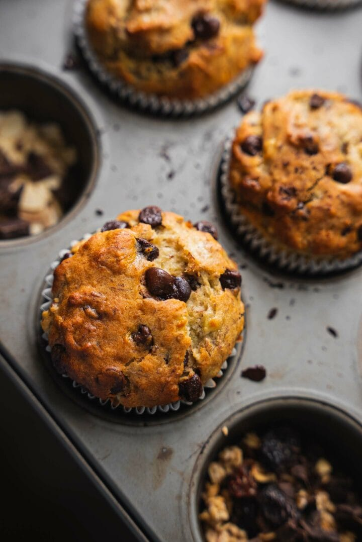 Vegan chocolate chip muffins in a muffin tray