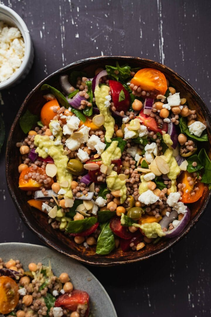Vegan salad with avocado sauce