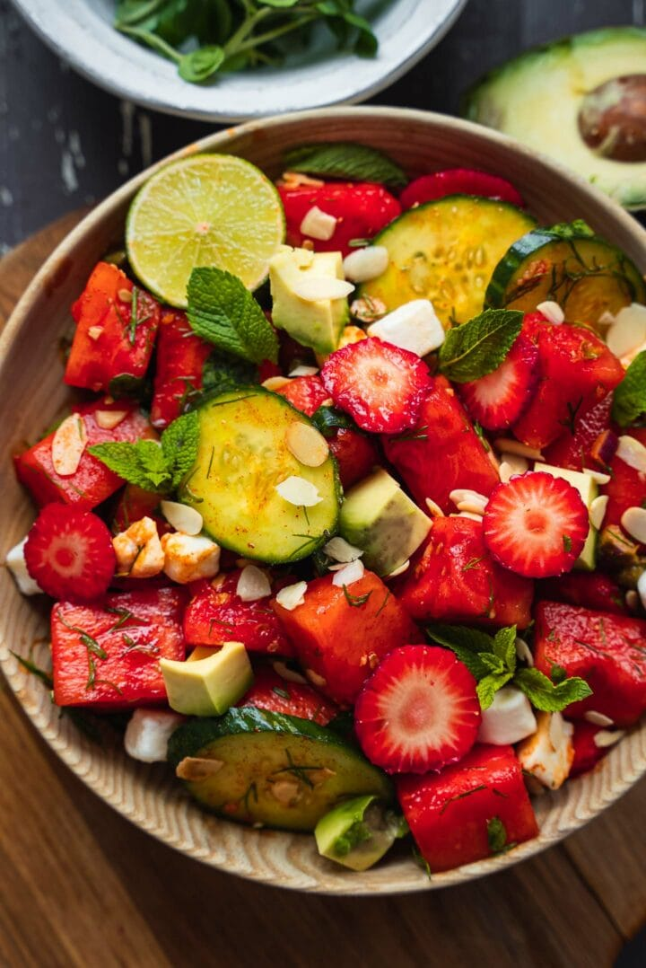 Vegan watermelon salad with cucumber and strawberries-10