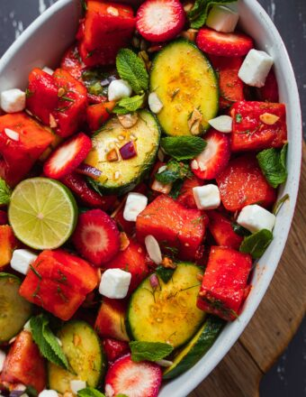 Vegan watermelon salad with cucumber and strawberries-2