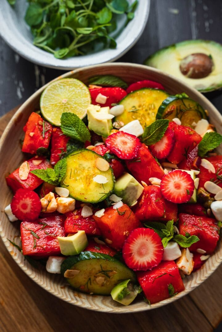 Vegan watermelon salad with cucumber and strawberries-8