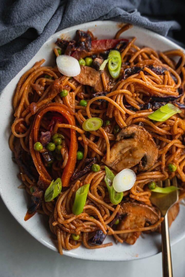 Vegetarian pasta dish in a bowl