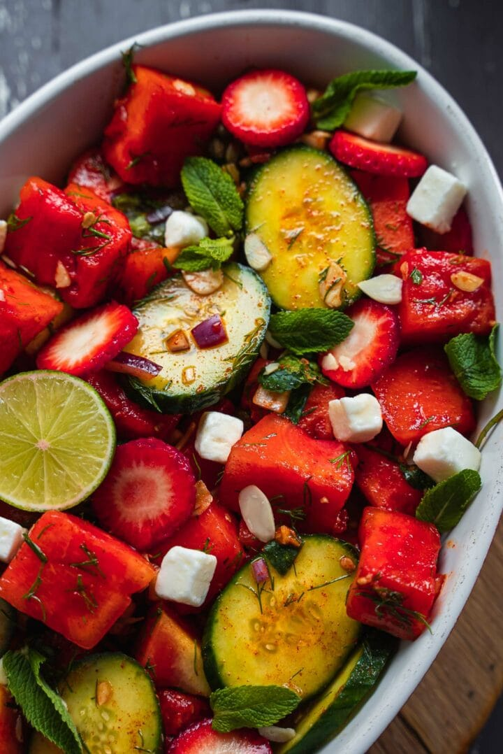 Watermelon salad with strawberries and avocado
