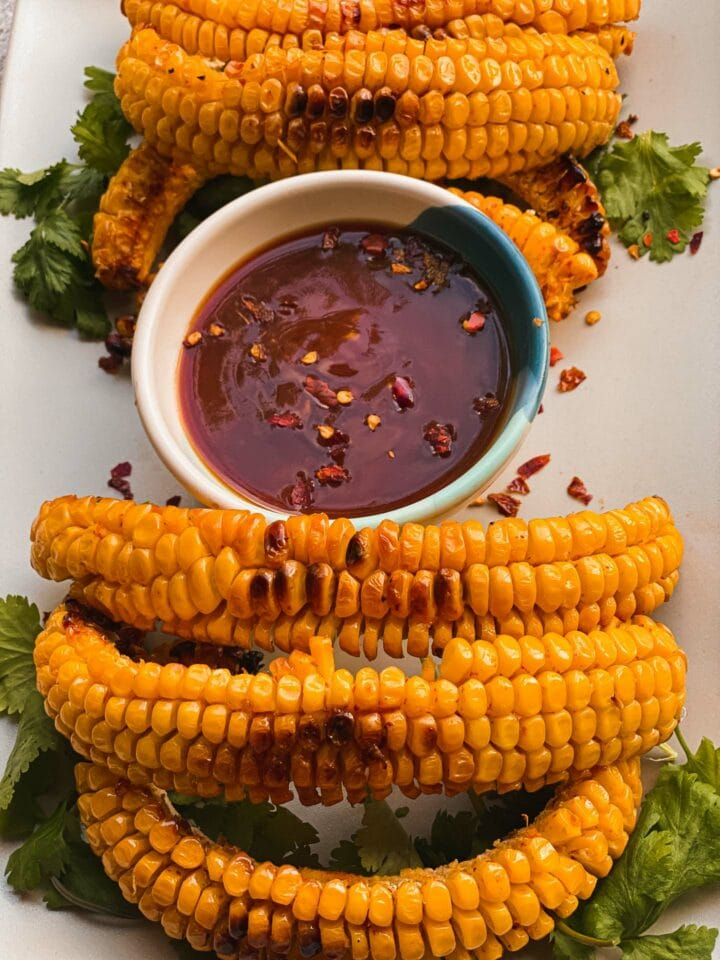 Baked corn fries with a spicy dip