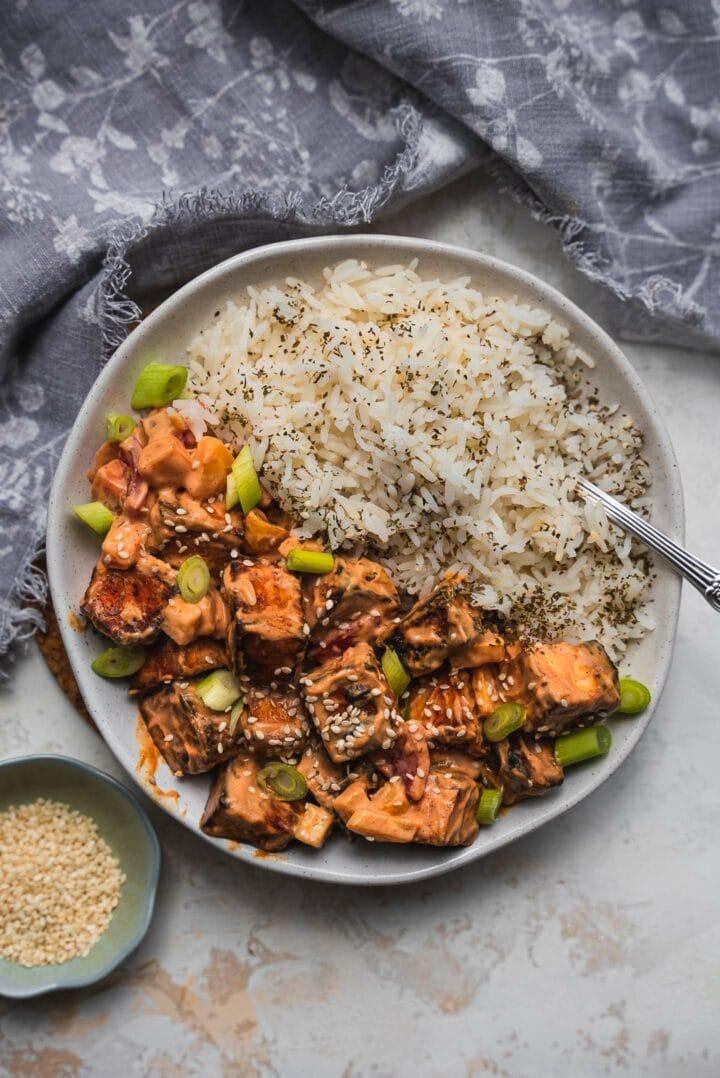 Bowl of crispy tofu and rice