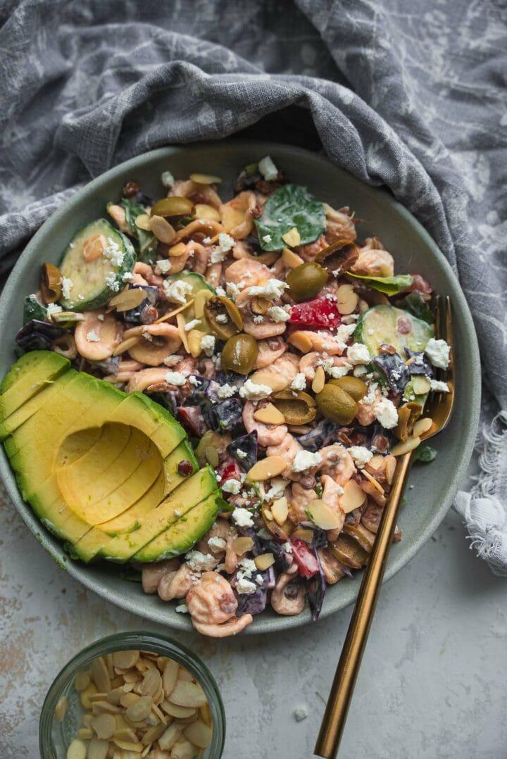 Bowl of salad with lentils and orecchiette