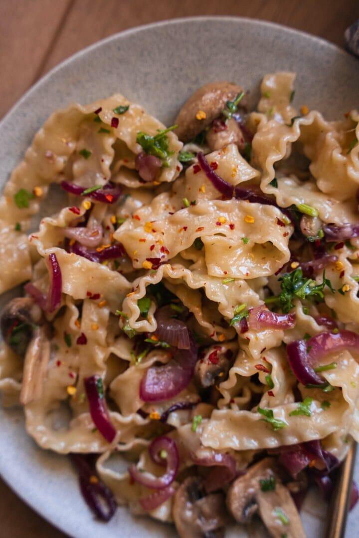 Caramelised onion pasta