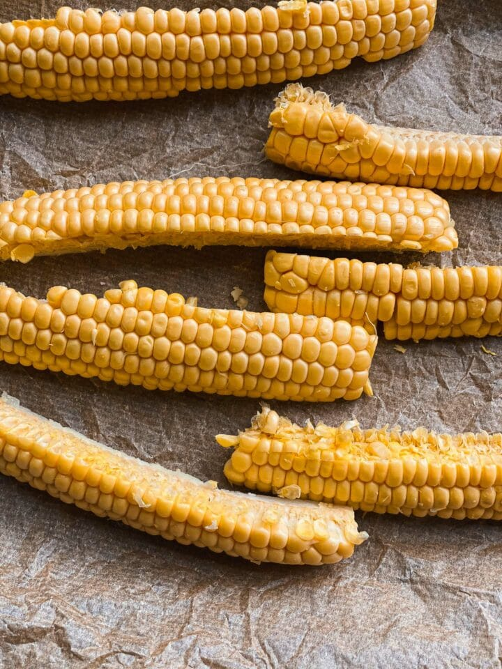 Corn on a baking tray