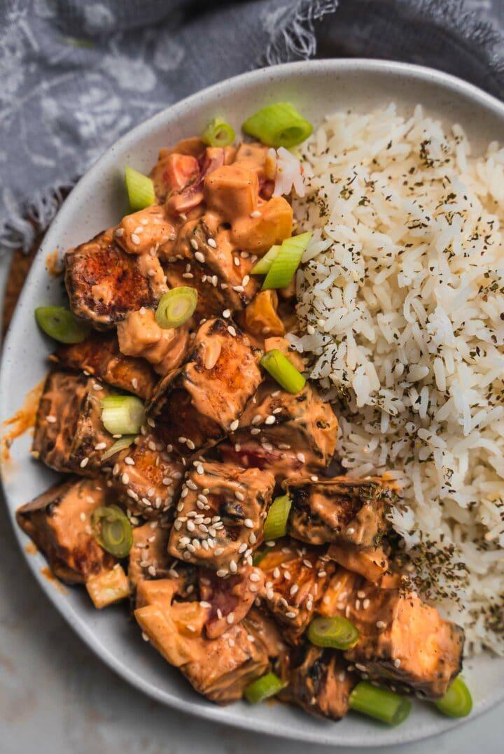 Crispy air fryer tofu with rice