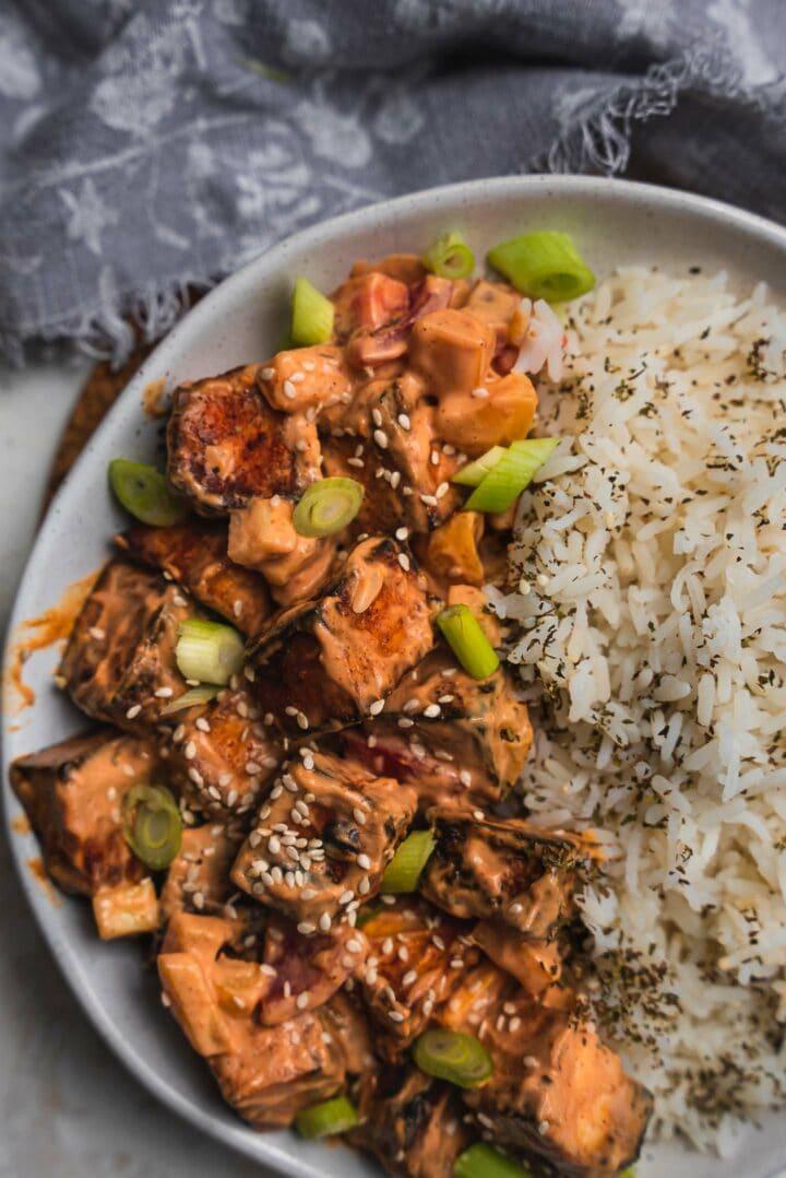 Crispy air fryer tofu with spicy peanut sauce