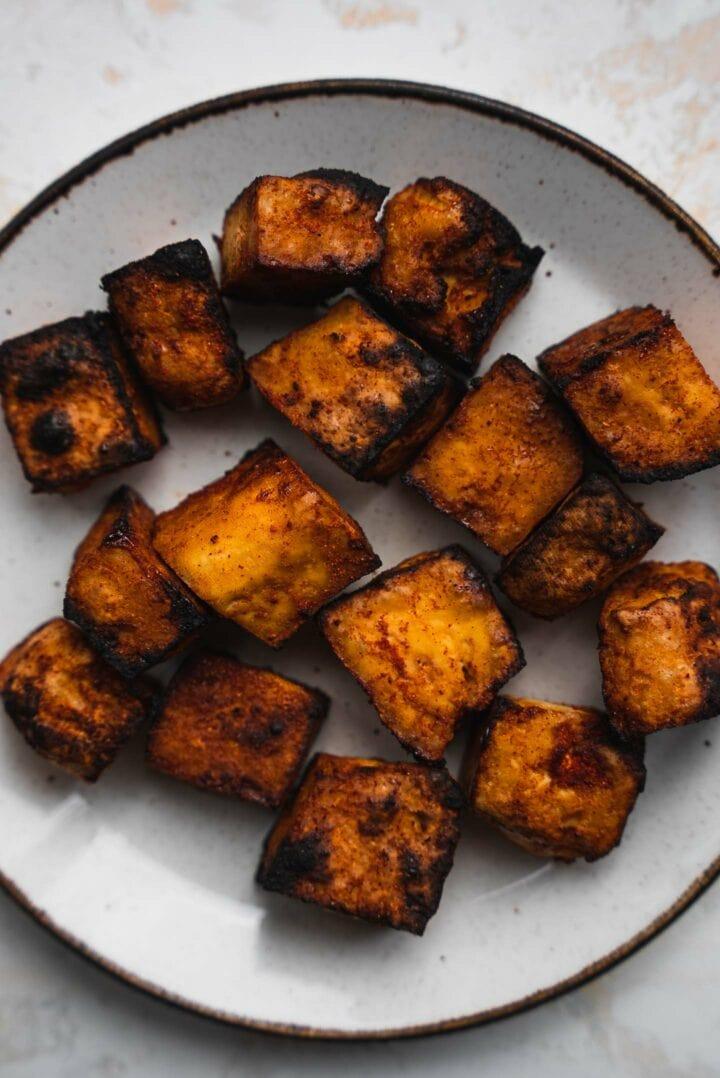 Crispy tofu on a plate