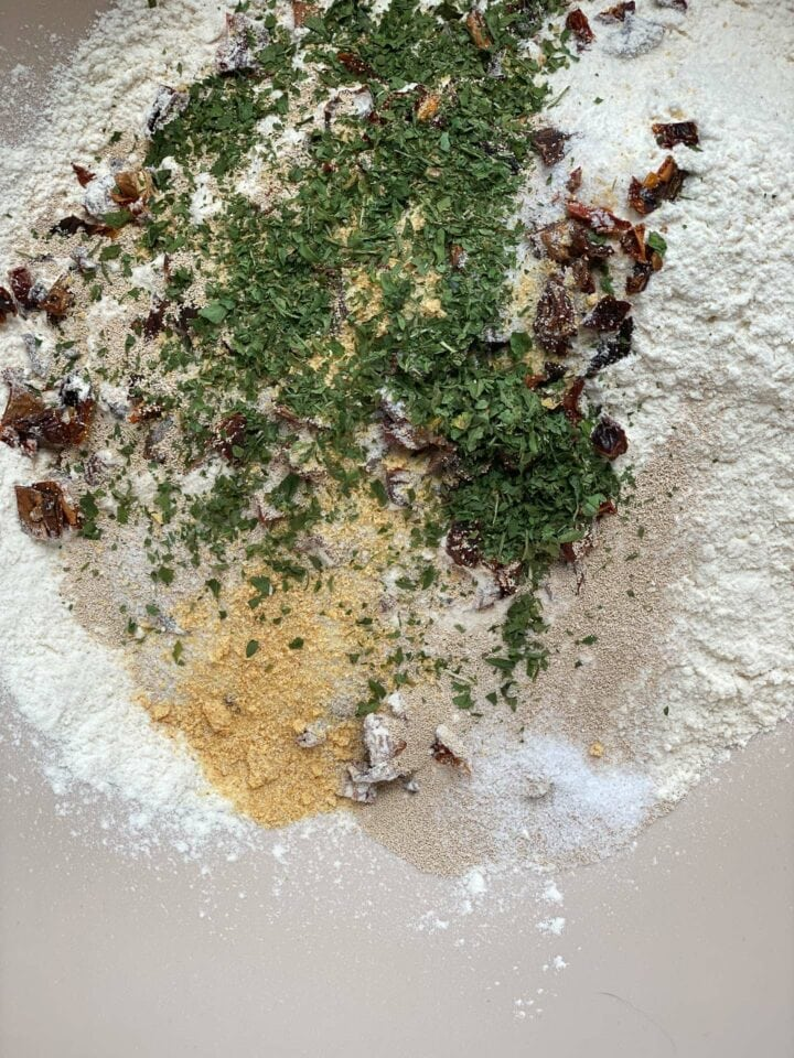 Dry ingredients for focaccia
