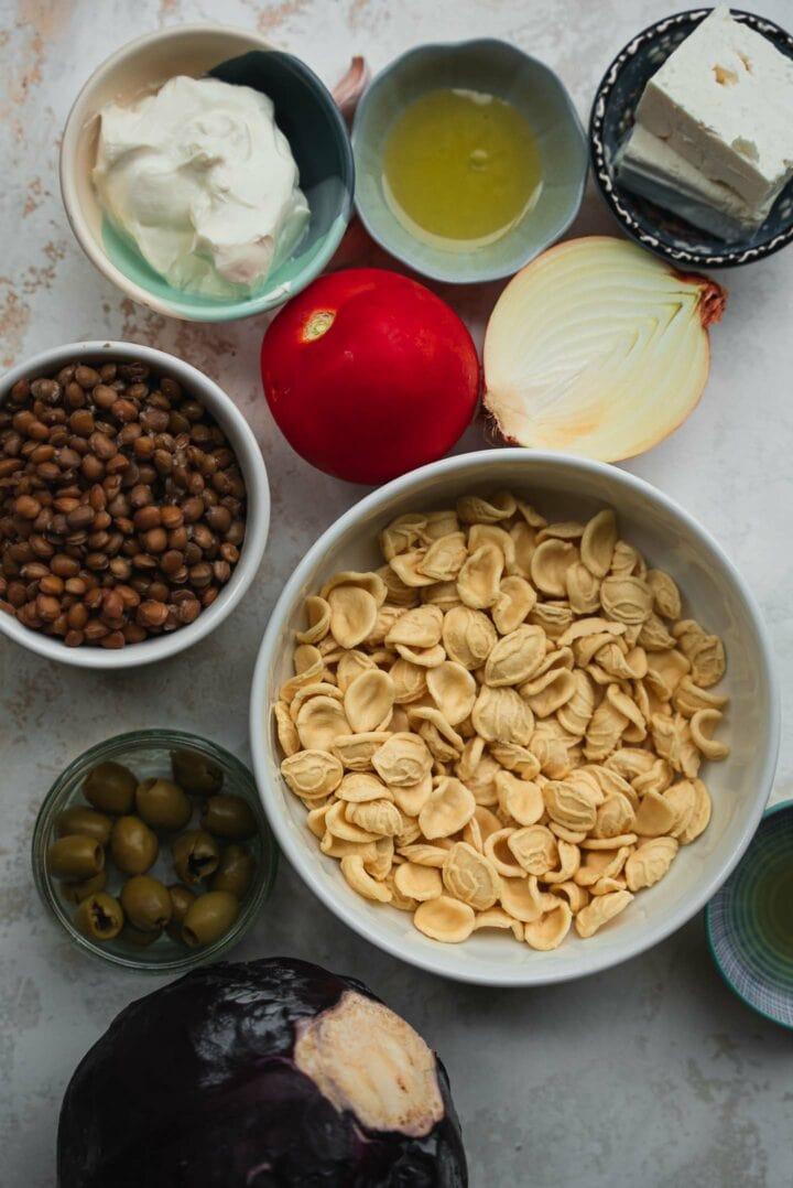 Ingredients for lentil pasta salad