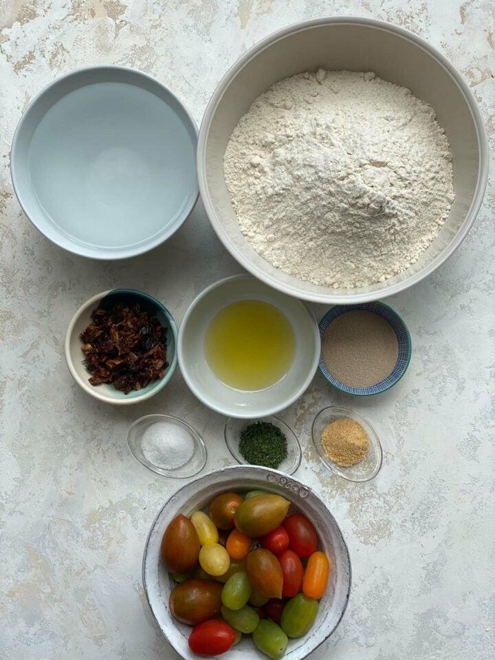 Ingredients for vegan focaccia