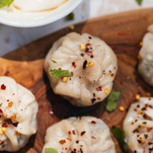 Khinkali with mushrooms and potatoes