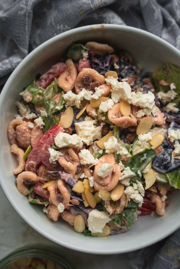 Pasta salad with cream cheese and feta