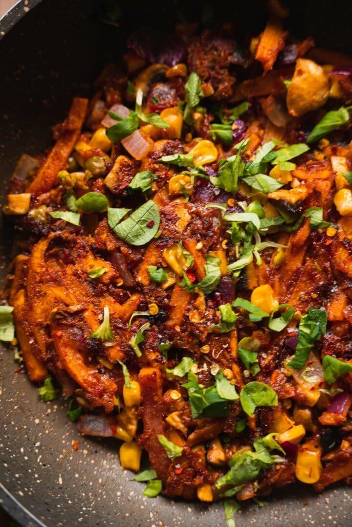 Sweet potato skillet recipe with sweetcorn