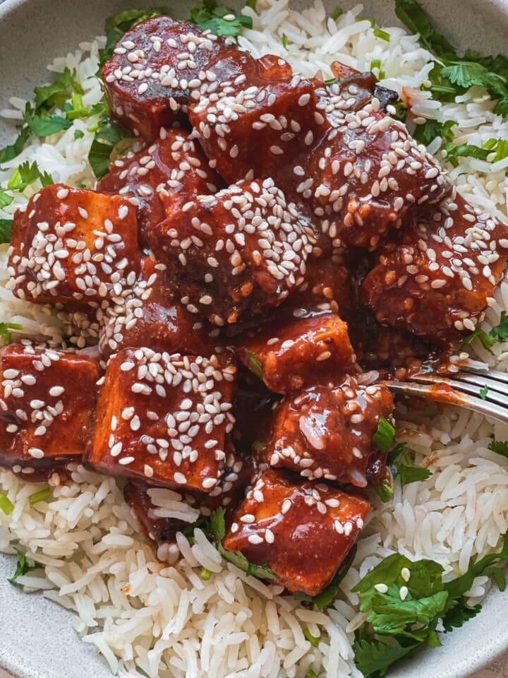 Vegan baked tofu with BBQ sauce