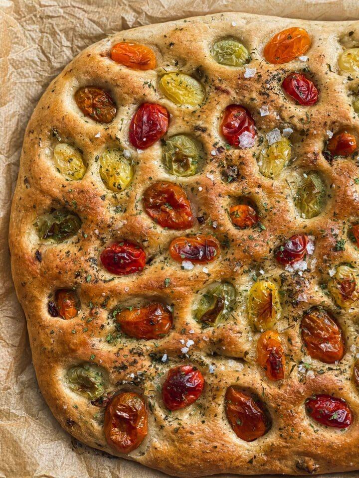 Vegan focaccia with cherry tomatoes