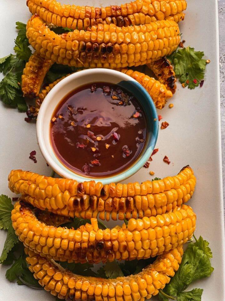 Vegan garlic butter corn ribs