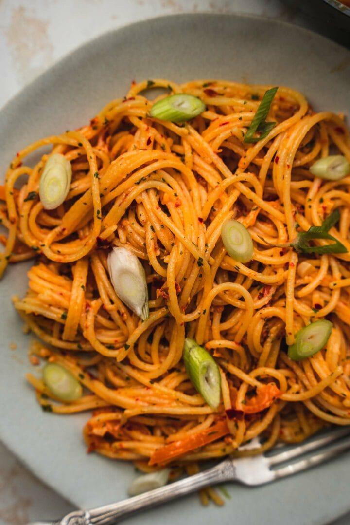 Vegan pasta with a garlic butter sauce