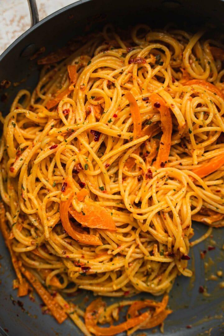 Vegan spicy spaghetti in a frying pan