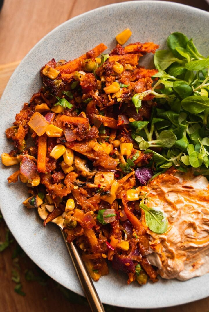 Vegan sweet potato skillet with hummus