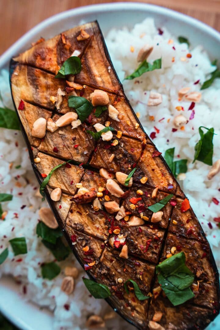 Aubergine on a bed of rice
