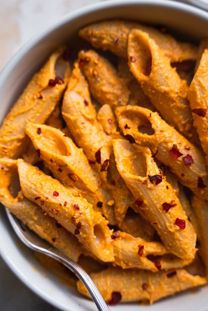 Bowl of dairy-free pasta with chilli flakes