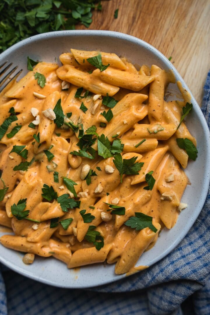 Bowl of pasta with a vegetable sauce