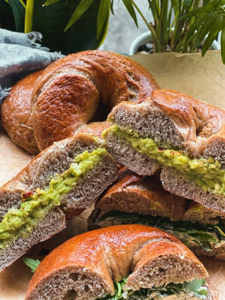 Cinnamon bagels with avocado and vegan butter