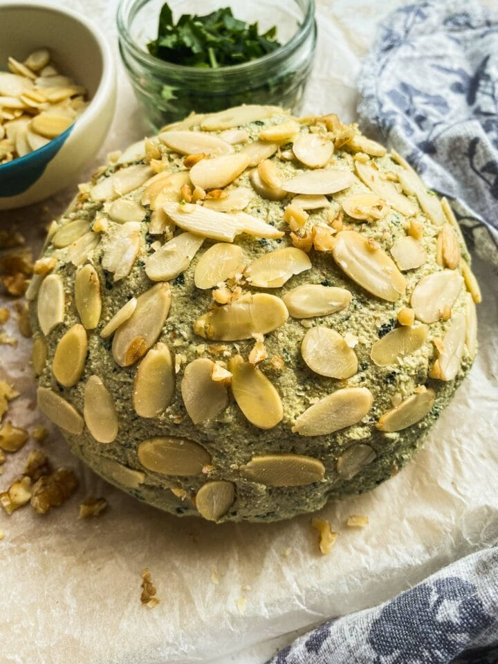 Dairy-free cheese with basil and garlic