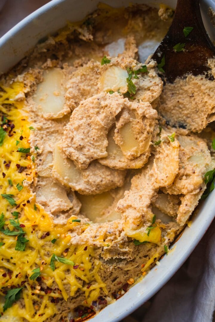 Dairy-free cheesy potatoes in a casserole dish