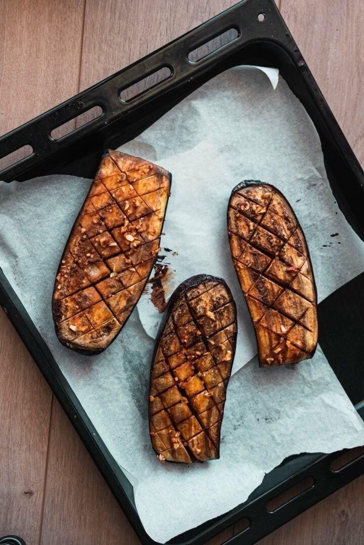 Eggplant on a baking tray